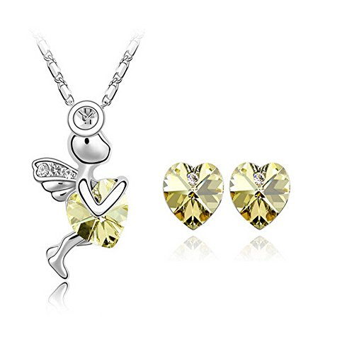 Hestian Swarovski Elements Women's Crystal Jewelry Set-- Cupid (Necklace, Ring, Earrings), Best Gift for Mother's Day/valentine's Day (Black) (Yellow) - Cupid Yellow Ring