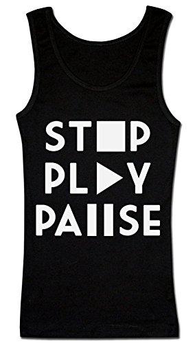 Stop Play Pause Iconic Symbols T-shirt senza maniche da donna