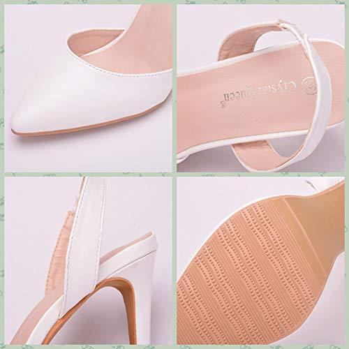 Bout En Ivoire Rond À Chaussures 9cm Blanc Sandales Femmes De PU Casual Mariage Bas Cuir Jryyue Ballerines Talons q8CYxUnx