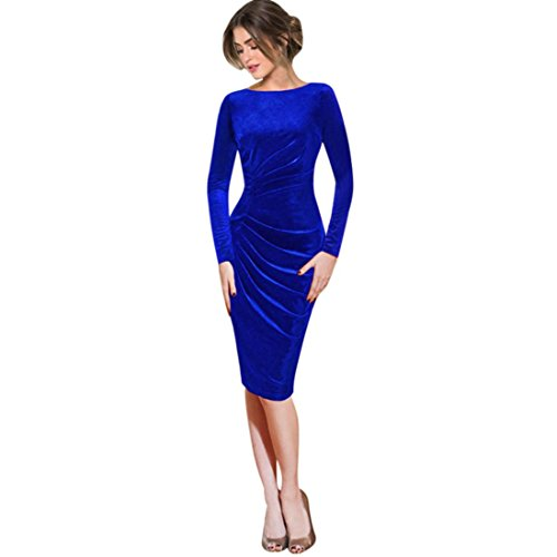 Womens Long Sleeve Velvet Ruched Slim Work Office Cocktail Party Sheath Dress (Blue, S) ()
