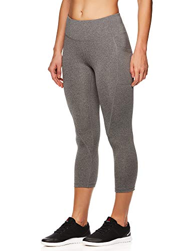 (Reebok Women's Printed Capri Leggings with Mid-Rise Waist Cropped Performance Compression Tights - Flint Grey Heather, Small)