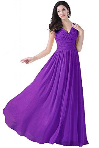 Party Lang Wedding Yellow V Brautjungferkleider Neck Damen Chiffon Fanciest Purple for w6nAH8q