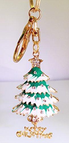3D Christmas Holiday Gold Plated Christmas Tree Crystal Keychain/Handbag charm w GIFT Box (US SELLER)