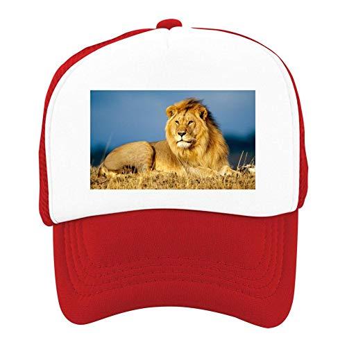 EThomasine Kids Girls Boys Mesh Cap Trucker Hats Lion Adjustable Hat Red by EThomasine