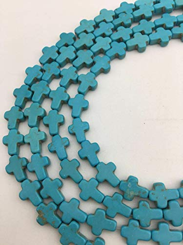 (Beads - Bead Jewelry - Beads for Women Men - Cute - Magnesite Turquoise Cross Blue Color 40)