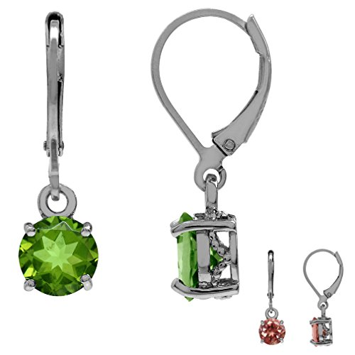 Synthetic Color Change Diaspore White Gold Plated 925 Sterling Silver Leverback Dangle Earrings