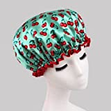 Fashion Design Stylish Reusable Shower cap with Beautiful pattern and color (Green(Cherry))