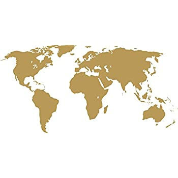 Amazon detailed world map wall decal gold metallic gold 22 x 50 world map wall decal vinyl art sticker home dcor gumiabroncs Choice Image