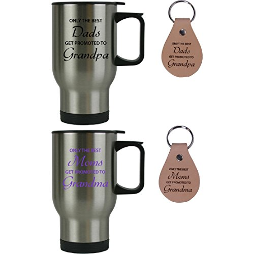 Only the Best Dads/Moms Get Promoted to Grandpa/Grandma 14 oz Stainless Steel Travel Coffee Mugs Bundle with Leather Keychains - Gift for Mothers's/Father's Day, Expecting Parents, Grandparents