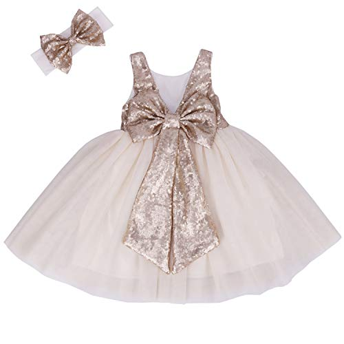 Cilucu Flower Girl Dress Baby Toddlers Sequin Dress Tutu Kids Party Dress Bridesmaid Wedding Gown Birthday Dress Champagne/Off White -