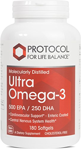 Protocol For Life Balance - Ultra Omega-3 (500 EPA/250 DHA) - Supports Cardiovascular and Cognitive Function, Healthy Heart, Brain, Joints, Mood, Skin and Hair - 180 Softgels