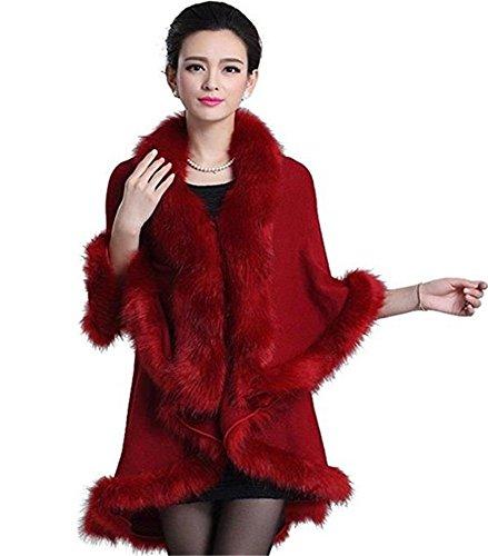 Abrigo de c¨¢lido 2018 piel invierno de abrigo de sint¨¦tica fiesta Abrigo oscuro FOLOBE para rojo Jersey nocturna Color pSdq804x
