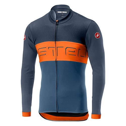 Castelli Prologo VI Long-Sleeve Full-Zip Jersey - Men's Dark Steel Blue/Orange/Light Steel Blue, L