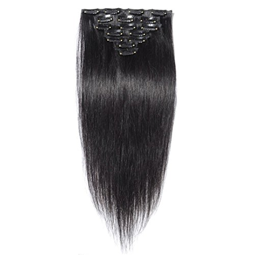 Ali Queen 6A 22 inch Off Black 1B# Virgin Brazilian Straight 100g Clip In Human Hair Extension 8pcs/set Clip In Hair Accessories