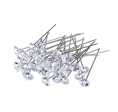 (NszzJixo9 100Pcs Crystal Diamante Corsage Pins, Corsages pin Straight Head Pins Dressmaking Dressmaker Pins Corsage Florists Sewing Pin for Wedding Flowers)