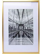 Cooper & Co. Homewares A3 Matt to A4 Premium Metallicus Metal Photo Frames, Gold (PF0018GD)