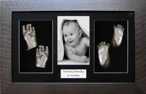 Twins Baby Hand Footprint Casting Kit Set / Pewter Frame / Silver Casts by BabyRice by Anika-Baby