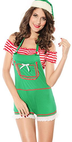 [YeeATZ Christmas Green Short-sleeved Christmas Dress Costumes] (Skimpiest Halloween Costume)