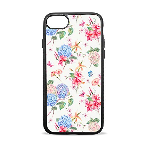 (Nice Looking Hydrangea Case Compatible with iPhone7 / 7plus & / iphone8 / 8plus Soft Shell Scratch-Resistant Anti-Fingerprint Black Border)