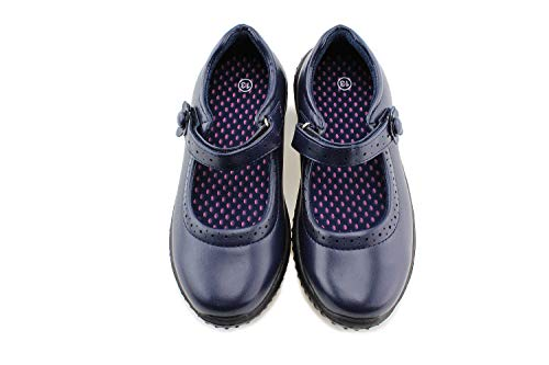 Jabasic Girl's Mary Jane School Uniform Shoes (11,Navy)