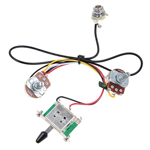 Kmise MI0322 Two Pickup Guitar Wiring Harness, 3 Way Blade Switch 500K, Great with (Guitar Wiring)