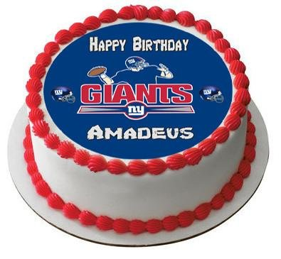 New York Giants Edible Birthday Cake OR Cupcake Topper - 7.5