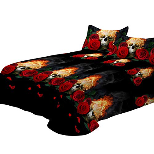 Junhome Sheets Queen Size,3D Black Skull Fitted Sheet Queen Size,Day of The Daed Suger Skull Flat Sheet Queen Size,Home Decor Sugar Skull Decor 4 Piece Bedding Set]()