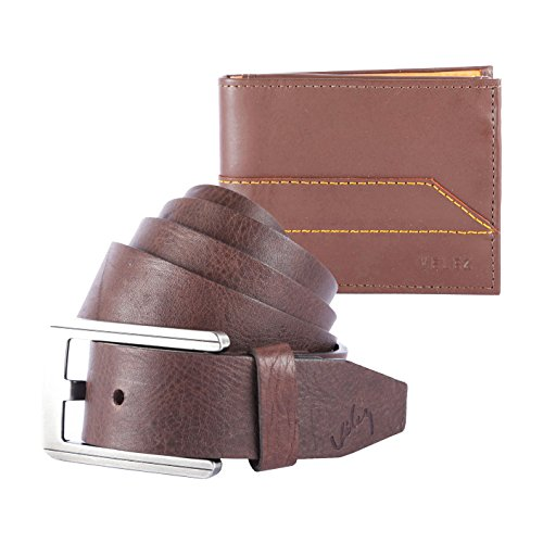 Velez Genuine Full Top Grain Men Real Soft Leather Jeans Belt Buckle No Scratch Bifold Credit Card Skinny Traveler Wallet Slim Classic Gift Set Kit (Incredibles Outfit)