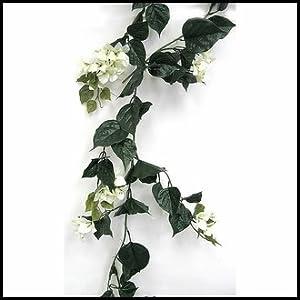 Silk Flower Arrangements Windowbox Outdoor Artificial Bougainvillea Vines - 9.5' Garland - Cream Flowers