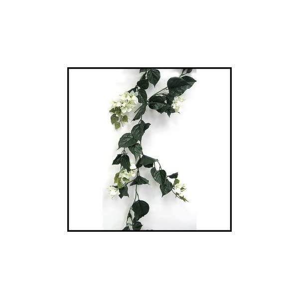 Windowbox Outdoor Artificial Bougainvillea Vines – 9.5′ Garland – Cream Flowers