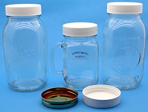 j s white plastic mason jar lids with foam liner for regular mouth canning jars 10 pack bpa. Black Bedroom Furniture Sets. Home Design Ideas