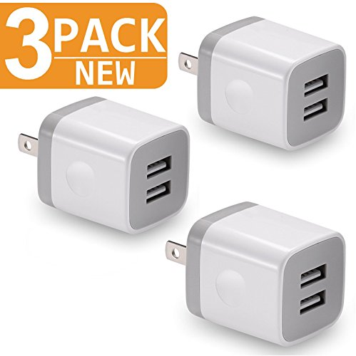 (Charger, 2.1A/5V Universal Dual Port USB 2-Port Plug Wall Charger Plug Power Adapter Fast Charging Cube (3-Pack) White)