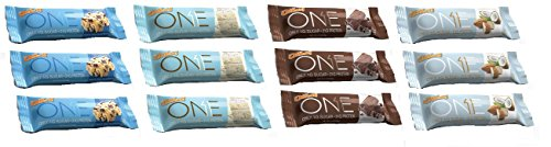OhYeah! Nutrition - Birthday Cake/Brownie/Almond Bliss/Chocolate Chip Cookie Dough 3 of each (12 Bars Total) …