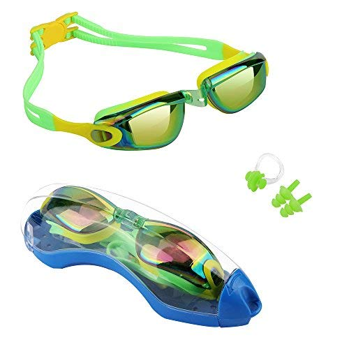 Kids Swim Goggles,Hurdilen Swim Goggles for kids Swimming Goggles with Anti-Fog UV Protection No Leaking Coated Lens with Case,Nose Clip,Earplugs for Boys Girls Youth Kids