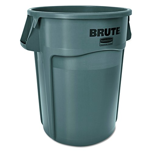 Rubbermaid Commercial Products FG265500GRAY-V Brute Container with Venting Channels, 55 gal, Gray