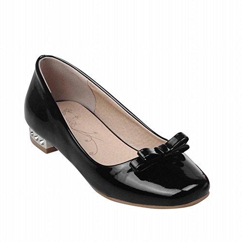 Latasa Womens Cute Bow Square-toe Low Chunky Heel Casual Pumps Black Xw3ryLq1p