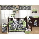 Lime Funky Zebra Bed Skirt for Toddler Bedding Sets by Sweet Jojo Designs