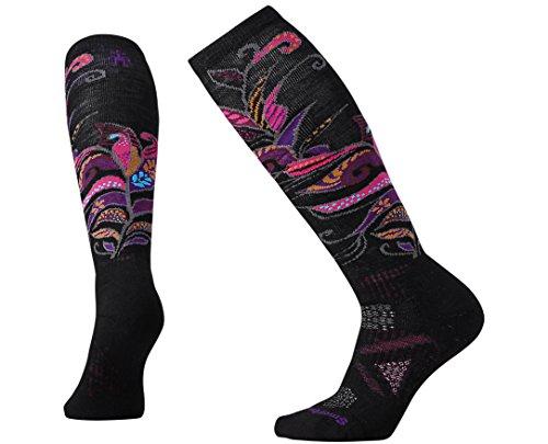 Smartwool Women's PhD Ski Medium Pattern Socks (Black/Berry) Small