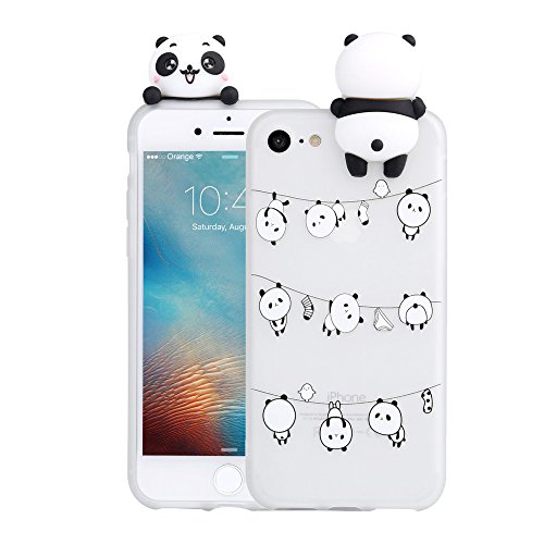 3D Cartoon Panda Case for iPhone 5 5S SE Case LAPOPNUT Soft Back Cover Candy Colour Cute Girly Bear Design Ultra Slim Flexible Protective Case Cover Gel Rubber Bumper for Girls, Lovely Pandas (5 Squishy Cases Iphone)