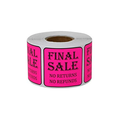 300 Labels - Final Sale Stickers for Retail Clearance or Final Sales (1.5 x 1.5 Inch, Pink - 1 Roll)