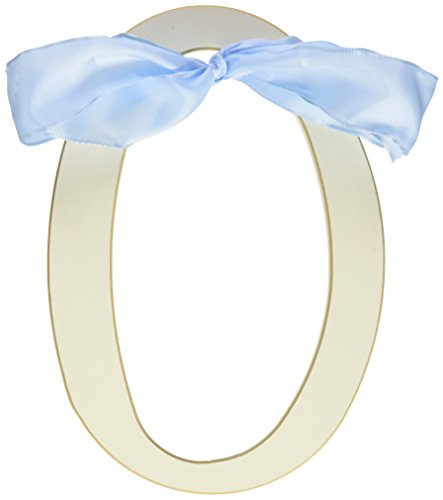 New Arrivals Wooden Letter O with Blue Solid Ribbon, Cream