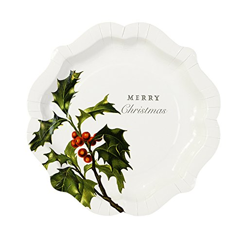 Talking Tables Botanical Christmas Disposable Plates, 12 count, for Christmas, Multicolor (Disposable Christmas Plates)
