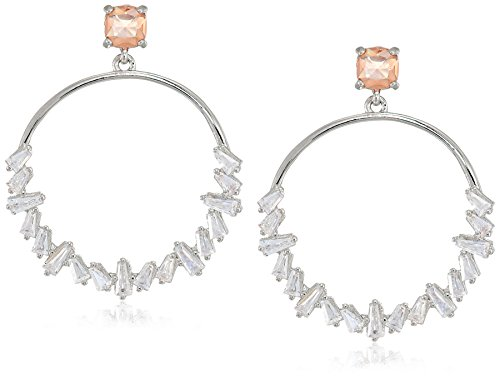 Carolee Blushing Bride Collection Women's Hoop Earrings, Silver/Lt Pink Carolee Jewelry