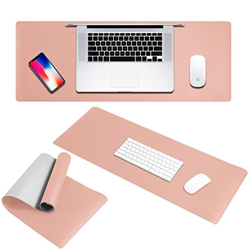 Extended Mouse Pad, Insten Double-Sided Leather Mouse Pad Extra Long Foldable Mouse Mat, Ultra Smooth Surface, Waterproof Design, Easy Storage for PC Desktop Gaming, Pink/Silver - 32'' X 12'' by INSTEN