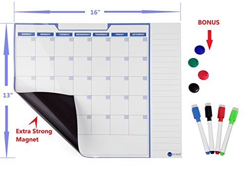 Dry Erase Board Monthly Magnetic Refrigerator Planner Calendar 16x13 inch With BONUS 4 Magnetic Dry Erase Markers and 4 Magnet Buttons | Monthly Magnetic Organizer for Kitchen Fridge- White