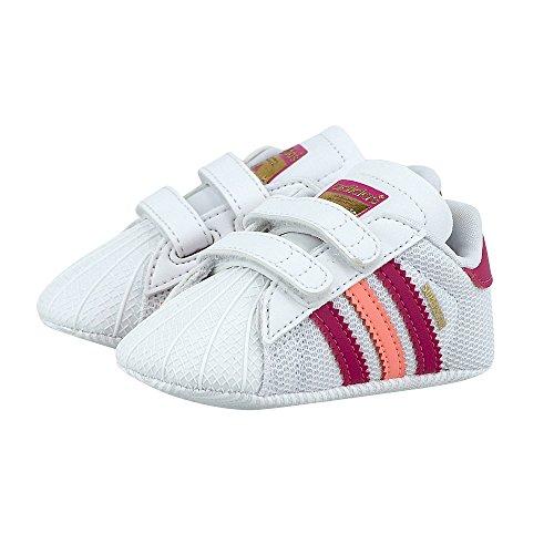 adidas Originals Superstar Shelltoe bebé niñas blanco rosa cuna zapatos blanco white/pink/cerise Talla:UK 1