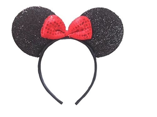 Mickey Mouse Minnie Mouse Ears Headband Sparking Black Red: M1 (Black)