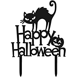 Tinksky Acrylic Halloween Cake Topper Decorative Cat Happy Halloween Cake Picks for Party Decoration