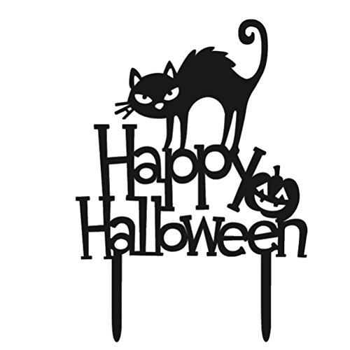 BESTOYARD Acrylic Halloween Cake Topper Decorative Cat Happy Halloween Cake Picks for Party Decoration