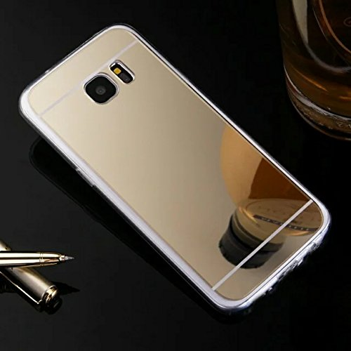 Galaxy S7 Edge Case,HAOTP(TM) Beauty Luxury Trendy Glitter Vibrant Cute Fashion Hybrid Soft TPU Mirror Cover Case for Samsung Galaxy S7 Edge (Gold)